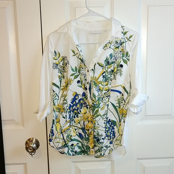 New York & Company Tops - White Floral Button Down NWOT // NY & Company